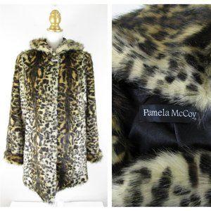 Pamela Mccoy Faux Fur Leopard Parka Overcoat S